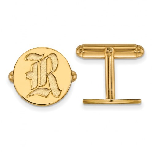 Rice Owls Sterling Silver Gold Plated Cuff Links
