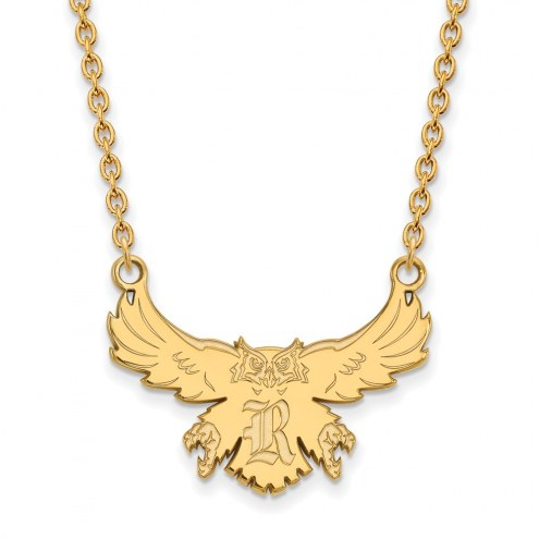 Rice Owls Sterling Silver Gold Plated Large Pendant Necklace