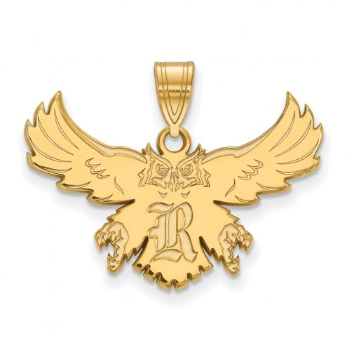 Rice Owls Sterling Silver Gold Plated Large Pendant