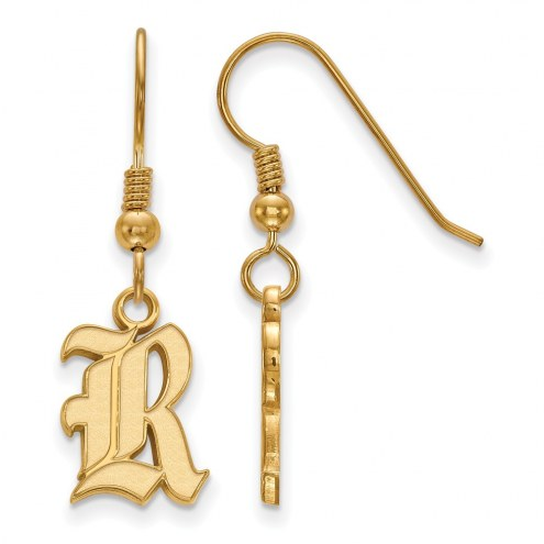 Rice Owls Sterling Silver Gold Plated Small Dangle Earrings