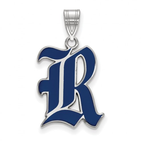 Rice Owls Sterling Silver Large Enameled Pendant