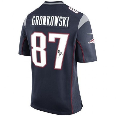 Rob Gronkowski Signed New England Patriots Blue Twill Jersey (sewn on numbers)