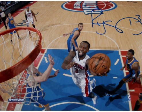 Rodney Stuckey Detroit Pistons at the Basket in White Jersey Signed 8x10 Photo