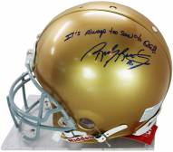 """Rudy Ruettiger Signed Authentic Notre Dame Full Size Helmet w/ """"It's Always Too Soon to Quit"""" insc"""