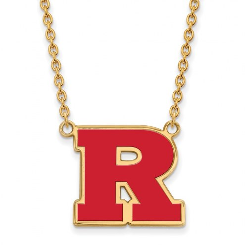 Rutgers Scarlet Knights Sterling Silver Gold Plated Large Enameled Pendant Necklace