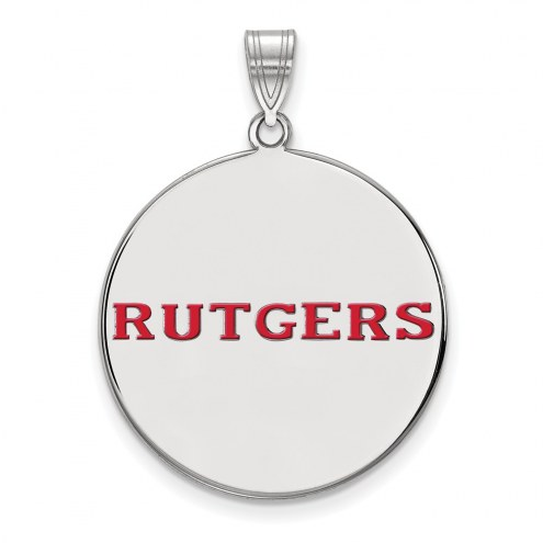 Rutgers Scarlet Knights Sterling Silver Extra Large Enameled Disc Pendant