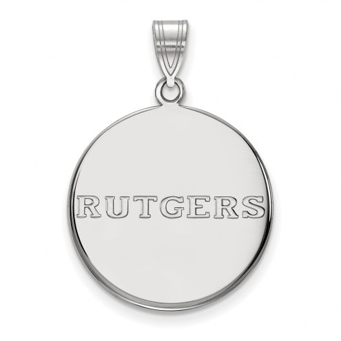 Rutgers Scarlet Knights Sterling Silver Large Disc Pendant