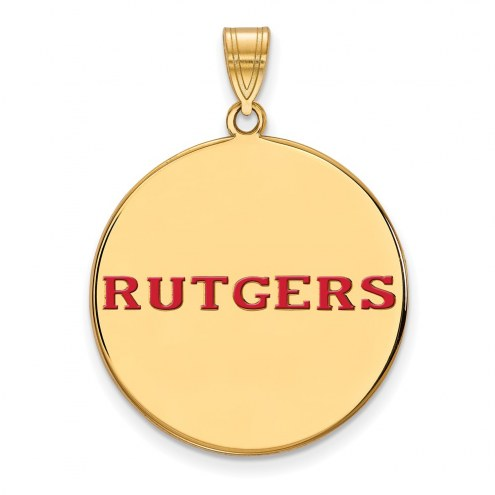 Rutgers Scarlet Knights Sterling Silver Gold Plated Extra Large Enameled Disc Pendant