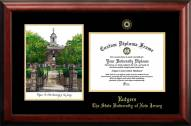 Rutgers Scarlet Knights Gold Embossed Diploma Frame with Campus Images Lithograph