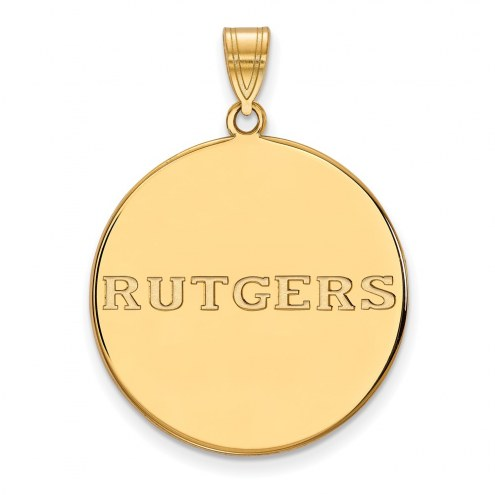 Rutgers Scarlet Knights Sterling Silver Gold Plated Extra Large Disc Pendant