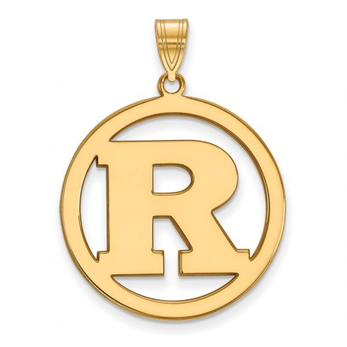 Rutgers Scarlet Knights Sterling Silver Gold Plated Large Circle Pendant