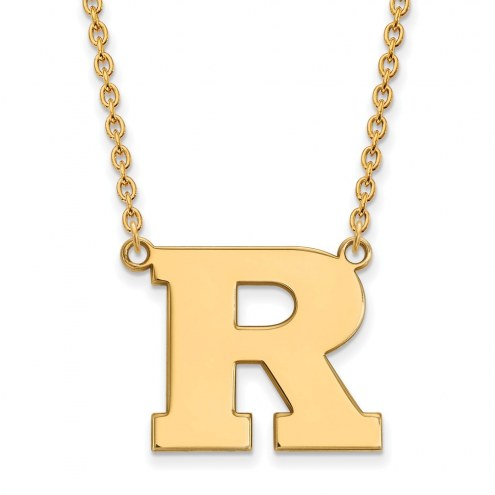 Rutgers Scarlet Knights Sterling Silver Gold Plated Large Pendant Necklace