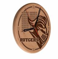 Rutgers Scarlet Knights Laser Engraved Wood Clock