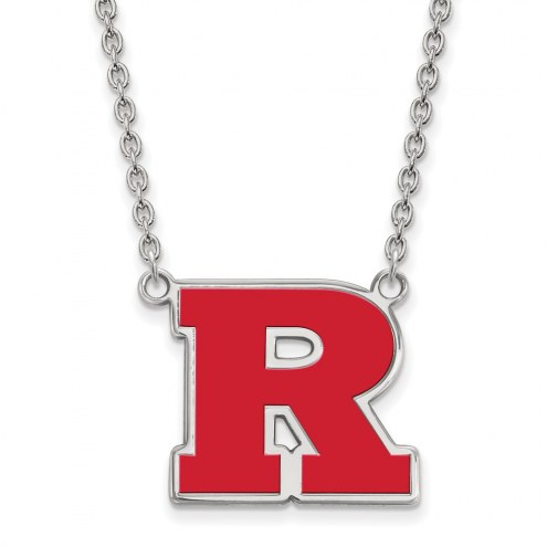 Rutgers Scarlet Knights Sterling Silver Large Enameled Pendant Necklace