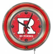 Rutgers Scarlet Knights Neon Clock