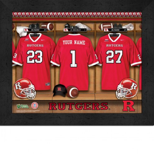 Rutgers Scarlet Knights Personalized Locker Room 11 x 14 Framed Photograph