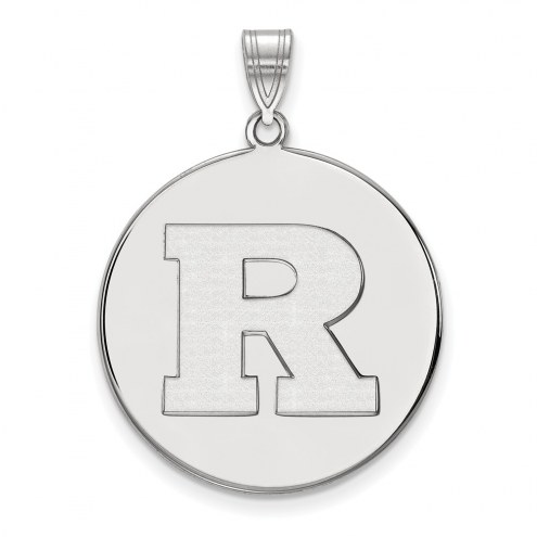 Rutgers Scarlet Knights Sterling Silver Extra Large Disc Pendant
