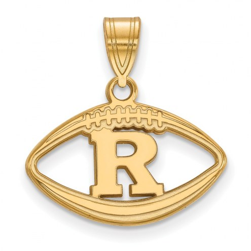Rutgers Scarlet Knights Sterling Silver Gold Plated Football Pendant