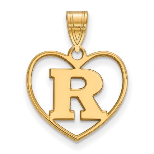 Rutgers Scarlet Knights Sterling Silver Gold Plated Heart Pendant