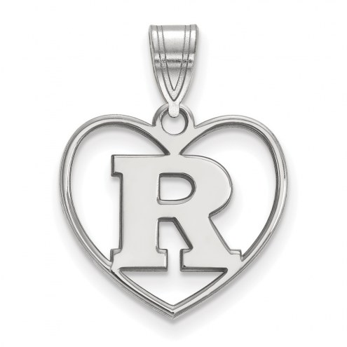 Rutgers Scarlet Knights Sterling Silver Heart Pendant