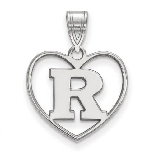 Rutgers Scarlet Knights Sterling Silver Heart Pendant