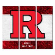 Rutgers Scarlet Knights Triptych Double Border Canvas Wall Art