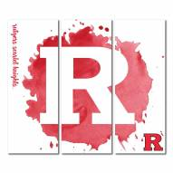 Rutgers Scarlet Knights Triptych Watercolor Canvas Wall Art