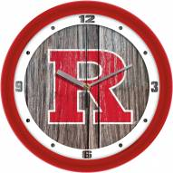 Rutgers Scarlet Knights Weathered Wood Wall Clock