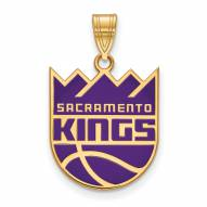 Sacramento Kings Sterling Silver Gold Plated Large Enameled Pendant