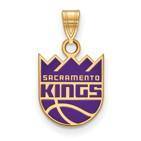 Sacramento Kings Sterling Silver Gold Plated Small Enameled Pendant