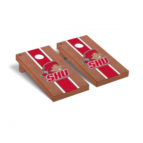 Sacred Heart Pioneers Rosewood Stained Stripe Cornhole Game Set