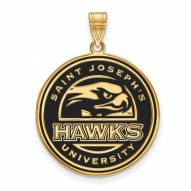 Saint Joseph's Hawks Sterling Silver Gold Plated Extra Large Enameled Pendant