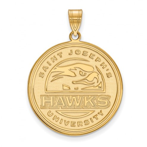 Saint Joseph's Hawks Sterling Silver Gold Plated Extra Large Pendant