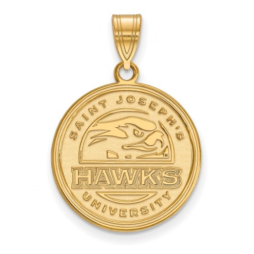 Saint Joseph's Hawks Sterling Silver Gold Plated Large Pendant