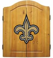 New Orleans Saints NFL Complete Dart Board Cabinet Set (w/darts & flights)