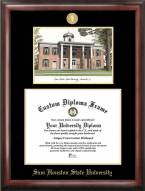 Sam Houston State Bearkats Gold Embossed Diploma Frame with Campus Images Lithograph