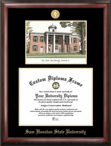 Sam Houston State Bearkats Gold Embossed Diploma Frame with Lithograph