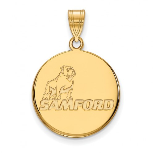 Samford Bulldogs NCAA Sterling Silver Gold Plated Large Pendant