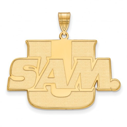 Samford Bulldogs Sterling Silver Gold Plated Extra Large Pendant