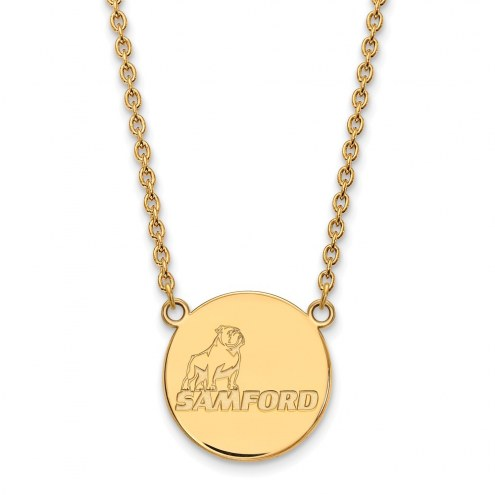 Samford Bulldogs Sterling Silver Gold Plated Large Pendant Necklace