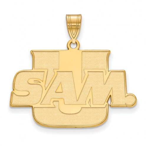 Samford Bulldogs Sterling Silver Gold Plated Large Pendant