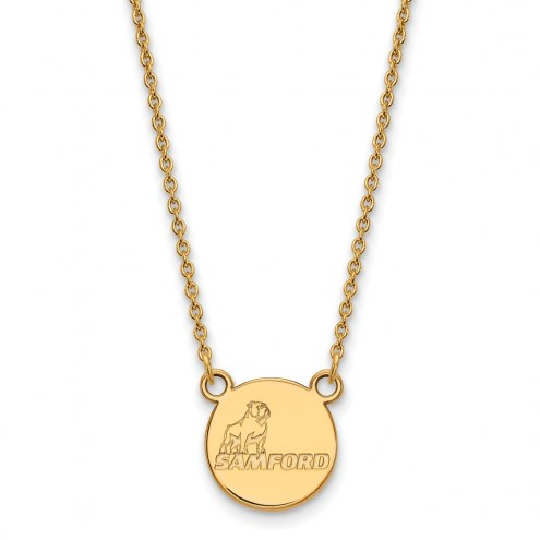Samford Bulldogs Sterling Silver Gold Plated Small Pendant Necklace