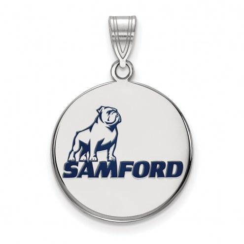 Samford Bulldogs Sterling Silver Large Enameled Pendant