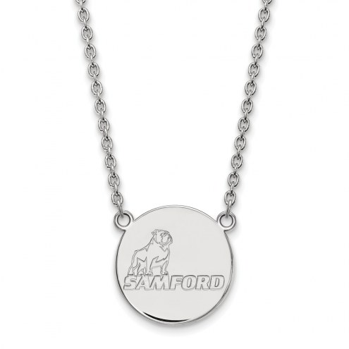 Samford Bulldogs Sterling Silver Large Pendant Necklace