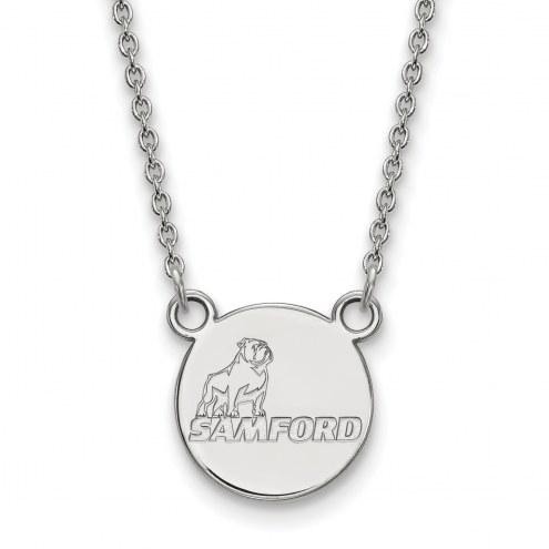 Samford Bulldogs Sterling Silver Small Pendant Necklace
