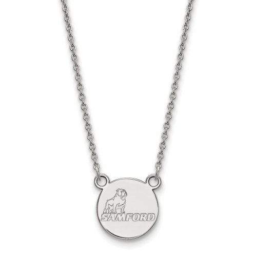 Samford Bulldogs Sterling Silver Small Pendant Necklace