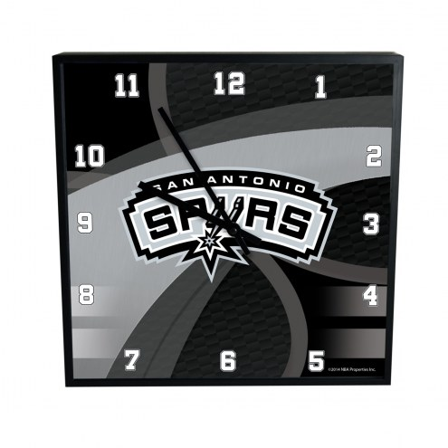 San Antonio Spurs Carbon Fiber Square Clock