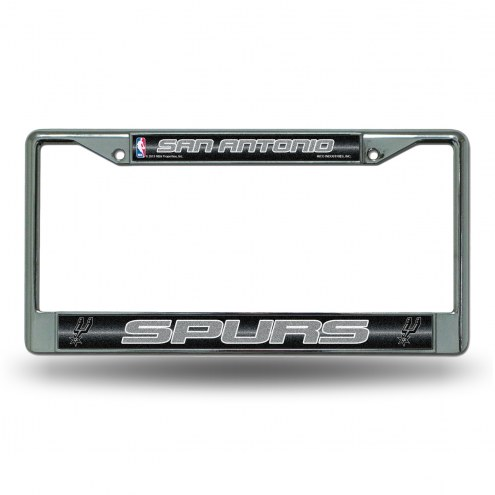 San Antonio Spurs Chrome Glitter License Plate Frame