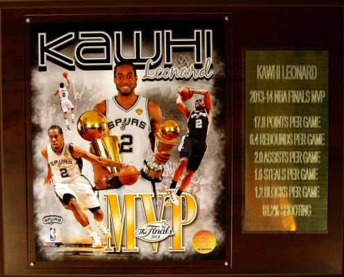 "San Antonio Spurs 12"" x 15"" Kawhi Leonard 2013-14 Finals MVP Plaque"