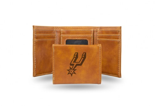 San Antonio Spurs Laser Engraved Brown Trifold Wallet